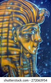 SAN DIEGO CA USA APRIL 7: Tutankhamun�s mummy mask mural in Balboa Park�s vibrant WorldBeat Cultural Centeron april 7 2015 in San Diego CA USA