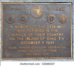 SAN DIEGO CA USA APRIL 22 2015: Plaque to the Pearl Harbor Survivors Association, Carnation Chapter, San Diego, and dedicated during the Chapterâ??s annual remembrance ceremony on December 7, 1984.