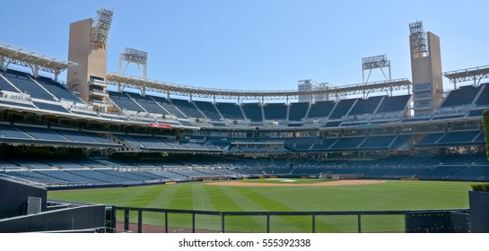 SAN DIEGO CA USA APRIL 7 2015: Petco Park Stadium, home of the Padres baseball team, in San Diego. Petco Park is an open-air ballpark in downtown San Diego, California