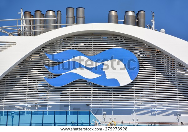SAN DIEGO CA USA APRIL 07 2015: Logo of the Crown Princess is a Grand-class cruise ship owned and operated by Princess Cruises. he ship godmother is Martha Stewart.