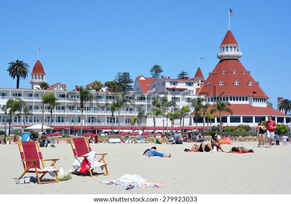 "SAN DIEGO CA USA APRIL 8 2015: Victorian Hotel del Coronado in San Diego, USA. In the hotel was filmed famous comedy ""Some like it hot"", which starred Marilyn Monroe."
