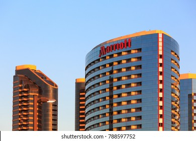 SAN DIEGO, CA, USA - DEC 14, 2017: Building Sign on Marriott Hotel , red letters on a glass tower.