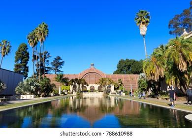SAN DIEGO, CA, USA - DEC 14, 2017: Balboa Park Botanical Building with beautful  blue sky.