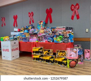 San Diego, CA / USA December 1, 2018: Toys Collected for  U.S Marine Corps Reserve Toys for Tots Campaign at Mira Mesa Senior Center.