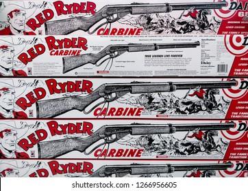 San Diego, CA / USA - December 6 2018: Boxes of Red Ryder BB Guns.