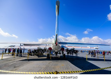San Diego, CA / USA - December 27 2018: Flight deck exhibits of USS Midway Museum