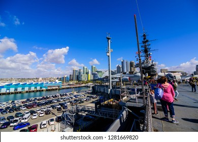San Diego, CA / USA - December 27 2018: Downtown San Diego seen from flight deck of USS Midway Museum