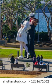 San Diego, CA / USA - December 27 2018: Unconditional Surrender sculpture seen from USS Midway Museum