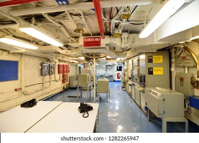 San Diego, CA / USA - December 27 2018: Inside the USS Midway Museum
