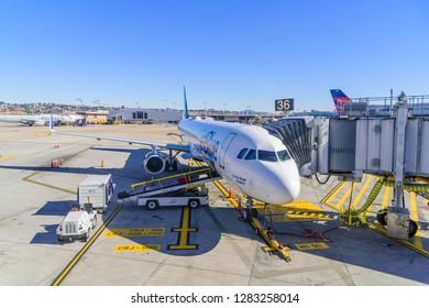 San Diego, CA, USA - December 28 2018: A JetBlue aircraft landed in San Diego International Airport