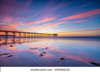 SAN DIEGO, CA, USA - FEBRUARY 13, 2018: Scripps Pier at sunset in La Jolla, San Diego on February 13, 2018.
