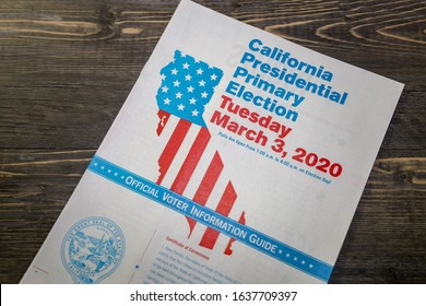San Diego, CA / USA - February 3, 2020: The California Presidential Primary Election Voter Information Booklet.