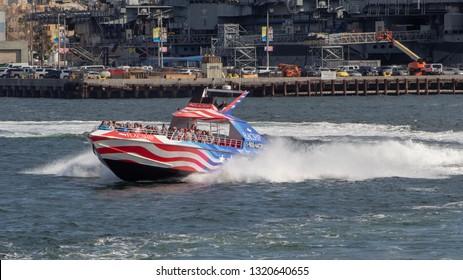 San Diego, CA / USA - January 26, 2019:       Patriot Jet Boat in the San Diego Bay.