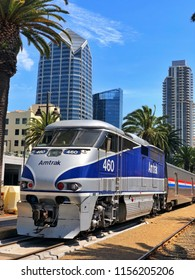 SAN DIEGO, CA, USA - JUL 15, 2018: Amtrak arrives downtown at Union Station, Amtrak is a passenger railroad service that provides medium- and long-distance intercity service in the United States