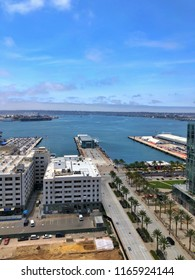 SAN DIEGO, CA, USA - JUL 16, 2018: Aerial View of Downtown Cityscape and skyscrapers.