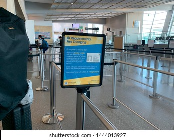 San Diego, CA (USA) - July 6, 2019. REAL ID requirements taking effect on October 1, 2020. A message board made by Homeland Security reminding all passengers at the San Diego International Airport.