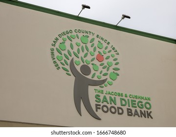 San Diego, CA / USA - July 14, 2019:  San Diego Food Bank sign.