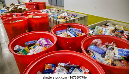 San Diego, CA / USA - July 14, 2019: View of plastic bins with food donated to the San Diego Food Bank.