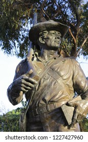 San Diego, CA / USA - March 12 2016 : A statue of a Mormon soldier overlooking Old Town San Diego.