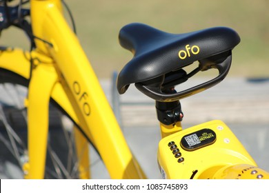San Diego, CA / USA - May 6, 2018: Close up of a yellow Ofo bike