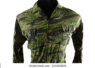 San Diego, CA / USA: October 27 2018: A Vietnam war era tiger stripe shirt. This type of pattern was used by special operations personnel during the Vietnam war.