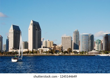 San Diego, CA / USA - October, 29, 2016: View of downtown from the opposite side in San Diego