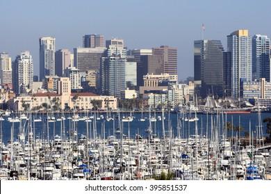 SAN DIEGO, CA, USA-OCT 14: San Diego City Skyline with Marina Harbor, October 14, 2013