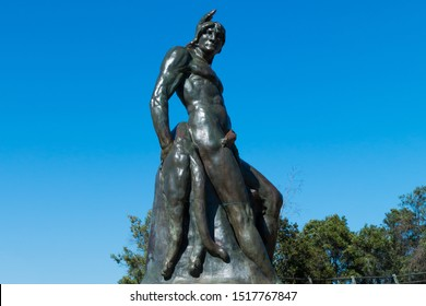 """SAN DIEGO, CALIFORNIA - APRIL 1, 2017:  """"The Indian,"""" a bronze statue by artist Arthur Putnam, which was completed in 1905 and is located in historic Presidio Park."""