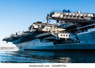 SAN DIEGO, CALIFORNIA - APRIL 30, 2017:  The USS Midway Museum, a former aircraft carrier commissioned one week after the end of World War II.  The Midway was the largest ship in the world until 1955.
