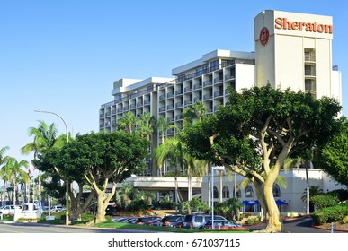 SAN DIEGO, CALIFORNIA - AUGUST 4, 2014: Main entrance to the Sheraton San Diego Bay Tower Hotel a luxury resort located at Harbor Island near the airport and downtown.