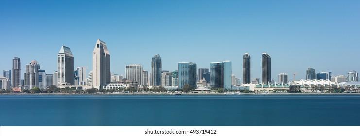 SAN DIEGO, CALIFORNIA - AUGUST 9: San Diego skyline from Centennial Park on Coronado Island on August 9, 2016 in San Diego, California