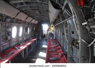 SAN DIEGO, CALIFORNIA - DEC 1, 2017 - Interior of CH46 Sea Knight rescue helicopter,USS Midway CV-41 Aircraft Carrier, San Diego, California