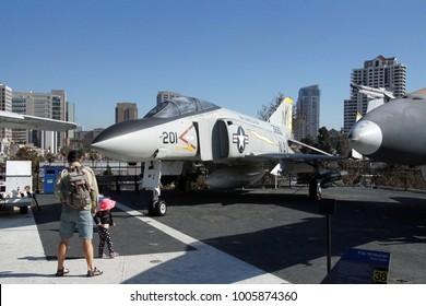 SAN DIEGO, CALIFORNIA - DEC 1, 2017 - McDonnell Douglas F-4 Phantom II jet, USS Midway CV-41 Aircraft Carrier, San Diego, California