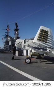 SAN DIEGO, CALIFORNIA - DEC 1, 2017 - A-1 Skyraider attack jet with underwing bombs,USS Midway CV-41 Aircraft Carrier, San Diego, California