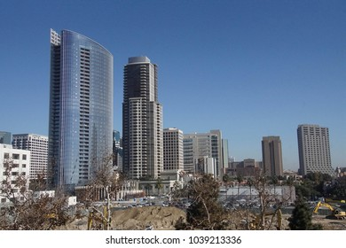 SAN DIEGO, CALIFORNIA - DEC 1, 2017 - Tall skyscrapers of downtown San Diego, California