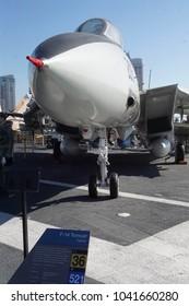 SAN DIEGO, CALIFORNIA - DEC 1, 2017 - F-14 Tomcat jet fighter, USS Midway CV-41 Aircraft Carrier, San Diego, California