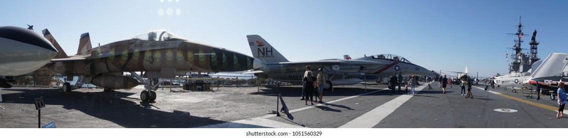 SAN DIEGO, CALIFORNIA - DEC 1, 2017 - Jet fighters on the flight deck of USS Midway CV-41 Aircraft Carrier, San Diego, California