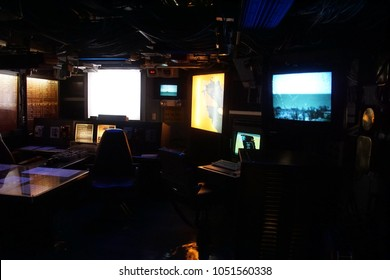 SAN DIEGO, CALIFORNIA - DEC 1, 2017 - Radar tracking and detection stations aboard the USS Midway CV-41 Aircraft Carrier, San Diego, California