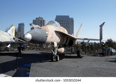 SAN DIEGO, CALIFORNIA - DEC 1, 2017 - FA 18 Hornet strike fighter jet,USS Midway CV-41 Aircraft Carrier, San Diego, California