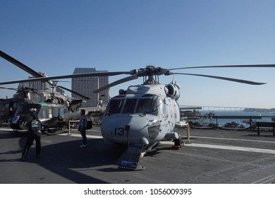 SAN DIEGO, CALIFORNIA - DEC 1, 2017 - H60 Seahawk helicopter,USS Midway CV-41 Aircraft Carrier, San Diego, California