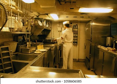 SAN DIEGO, CALIFORNIA - DEC 1, 2017 - Model of kitchen galley on the USS Midway CV-41 Aircraft Carrier, San Diego, California