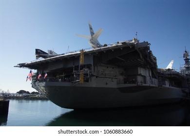 SAN DIEGO, CALIFORNIA - DEC 1, 2017 - Fantail aft view of USS Midway CV-41 Aircraft Carrier, San Diego, California