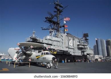 SAN DIEGO, CALIFORNIA - DEC 1, 2017 - Reconnaissance radar propeler aircraft on the USS Midway CV-41 Aircraft Carrier, San Diego, California