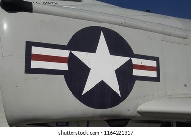 SAN DIEGO, CALIFORNIA - DEC 1, 2017 - A7 Corsair fighter, USS Midway CV-41 Aircraft Carrier, San Diego, California