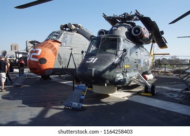 SAN DIEGO, CALIFORNIA - DEC 1, 2017 - Helicopters on the flight deck of the USS Midway CV-41 Aircraft Carrier, San Diego, California