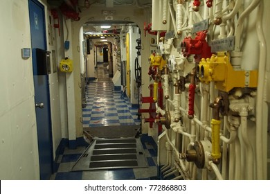 SAN DIEGO, CALIFORNIA - DEC 1, 2017 - Steam valves and controls in the engine room of USS Midway CV-41 Aircraft Carrier, San Diego, California
