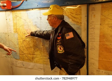 SAN DIEGO, CALIFORNIA - DEC 1, 2017 -Strategic planning maps for 1991 Operation Desert Storm, USS Midway CV-41 Aircraft Carrier, San Diego, California