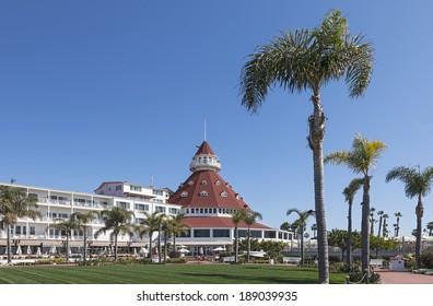 SAN DIEGO, CALIFORNIA - FEB. 12, 2013: A view of Hotel del Coronado in San Diego, USA. The Wooden Victorian Beach Resort opened in 1888. Hotel del Coronado is California Famous Historical Landmark.