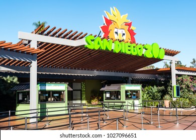 SAN DIEGO, CALIFORNIA - FEBRUARY 17, 2018:  The entrance to the San Diego Zoo before opening.  The zoo was founded in 1916, and was a pioneer in the concept of open-air, cageless animal exhibits.