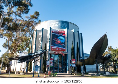 SAN DIEGO, CALIFORNIA - FEBRUARY 17, 2018:  The San Diego Air and Space Museum, houses a collection of historic aircraft and spacecraft including the actual Apollo 9 Command Module spacecraft.